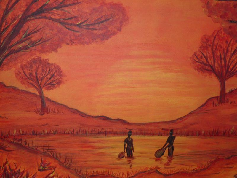 Cr artstyle peinture art d co archive du blog tableau paysage africain for Peinture chambre style africain